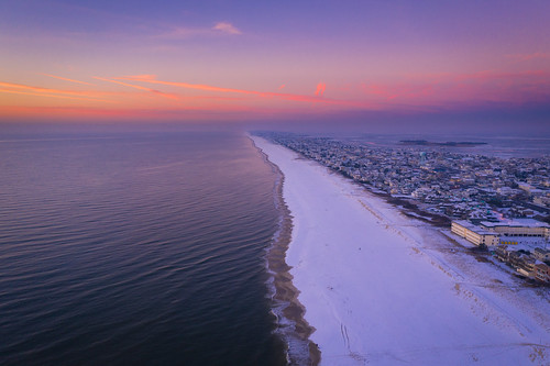 sunrise aerial long beach island landscape seascape travel snow sand east coast colorful dji mavic pro 2 view flying coastline shoreline jersey shore mike ver spill ocean sea