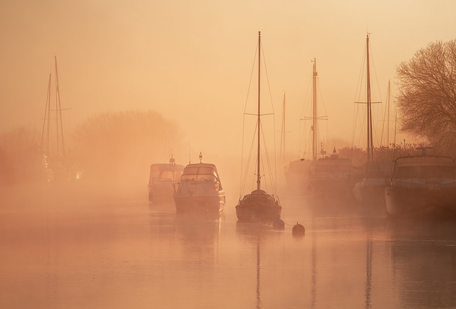 Yachts in mist