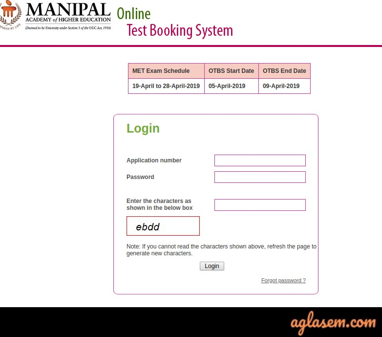MU OET 2019 Slot Booking And Admit Card Generation Starts At Manipal OTBS