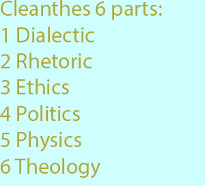 7-1 Cleanthes makes not three, but six parts, Dialectic, Rhetoric, Ethics, Politics, Physics, Theology.