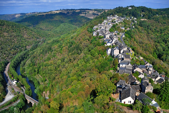 Aerial view of Najac, Aveyron - France