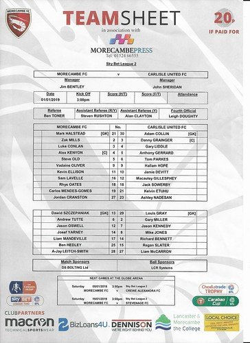 Morecambe V Carlisle United 1-1-19 T/S | by cumbriangroundhopper