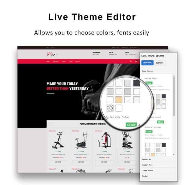 Bos Gymgear Creative PrestaShop Sport Theme - Live theme editor