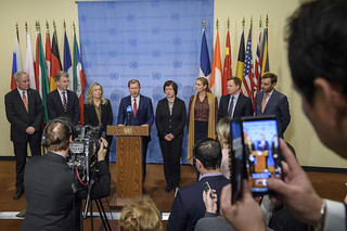 Press Encounter with Permanent Representatives of the EU8 | by United Nations Photo