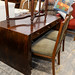 Large solid wood dark stained slab desk E165