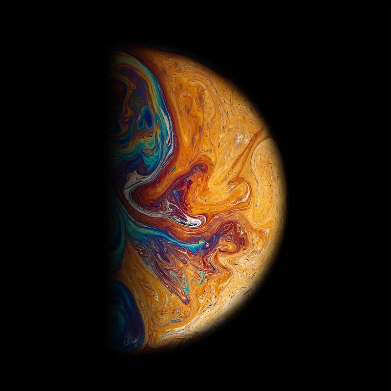 Обои шар, планета, разноцветный, краска, пятна картинки на рабочий стол, фото скачать бесплатно