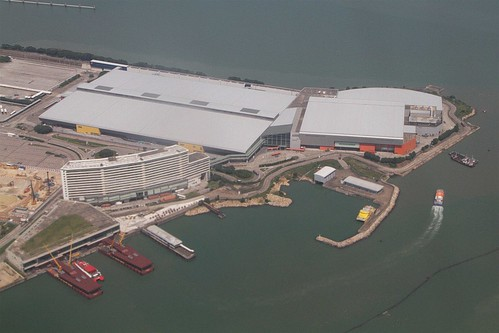Skypier and AsiaWorld-Expo at the eastern end of Hong Kong International Airport