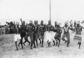 Ceremonial dance performed by Yupungathi men at Mapoon Mission, June, 1931