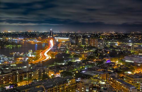 sydney newsouthwales australia au sofitel hotel anzac bridge night light trails car long exposure