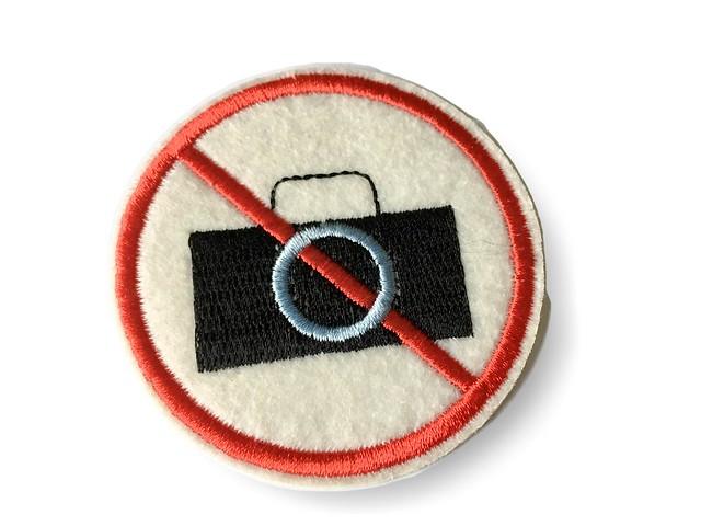 Fotografieren verboten Patch, Bügelbild ca.65mm, Kamera Aufbügler