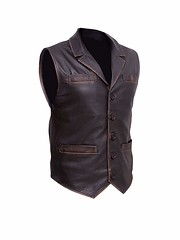 Trendhoop Men's Brown Hell on Wheels Cullen Bohannon Distressed Cowhide Distressed Leather Vest