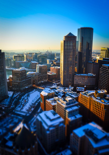 boston sunrise morning tilt–shift photography city buildings custom house observation deck bay roads skyscraper light massachusetts ma high rwgrennan rgrennan ryan grennan nikon d610 one international place tall marina rowes wharf bos travel