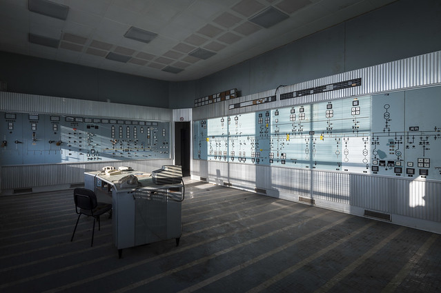 Control Room in abandoned power station.