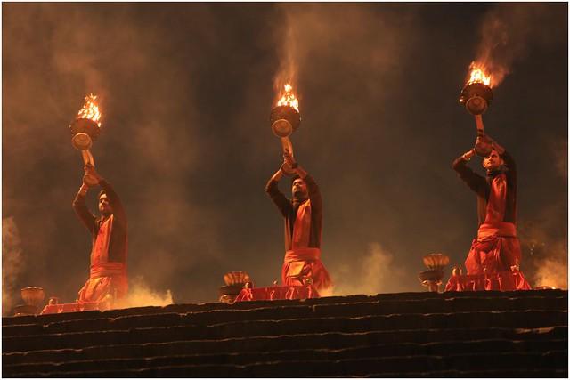 India Travel Photography: Aarti Ceremony, Nada Sadhus & burning Ghats at Varanasi 2019 Benares.008 by Hans Hendriksen