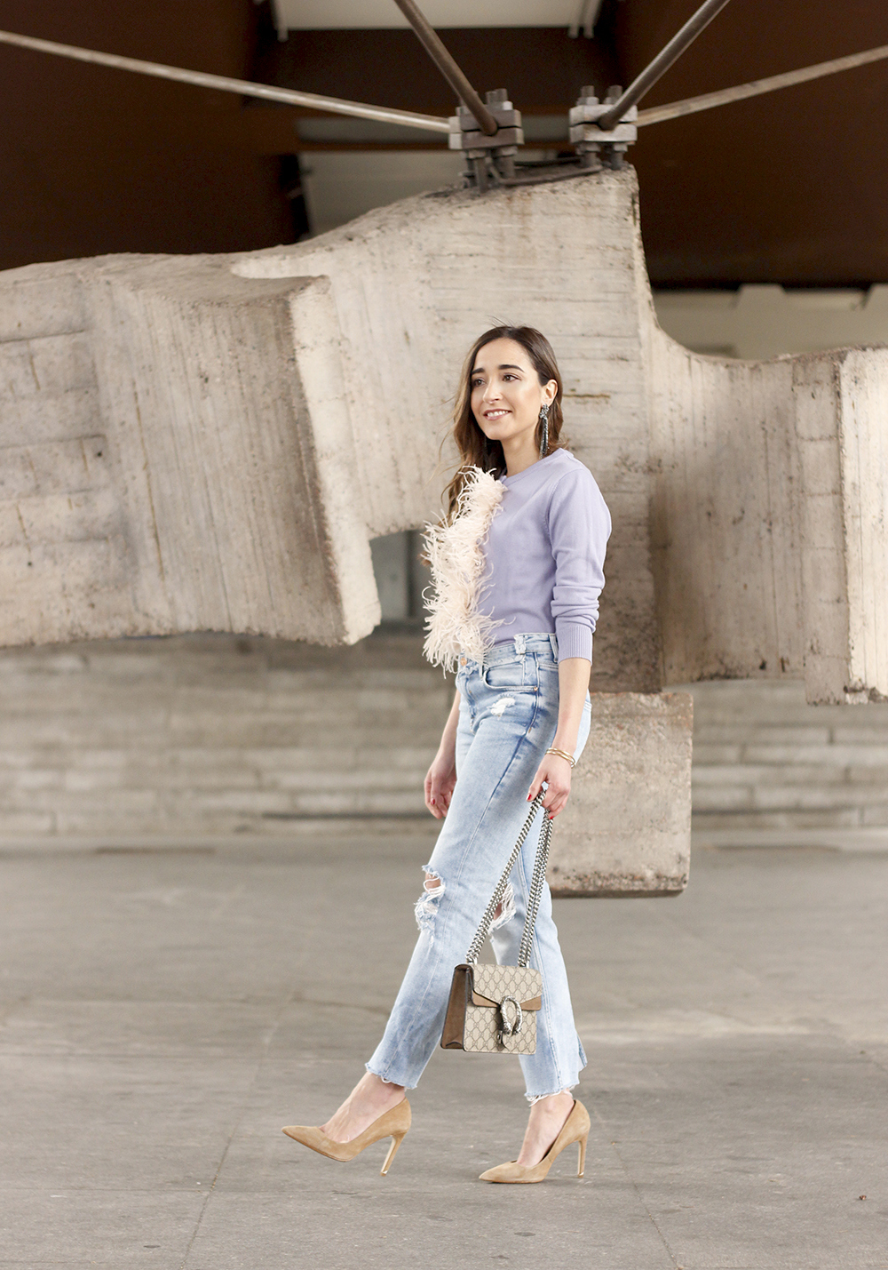 lavender sweater ripped jeans gucci bag nude heels casual street style casual outfit 201915