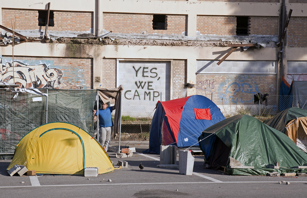 Refugee camp in Rome