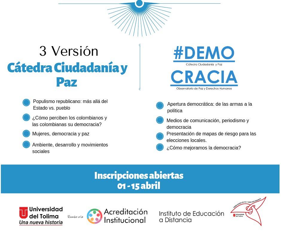 Participe de la tercera versión de la Cátedra Ciudadanía y Paz