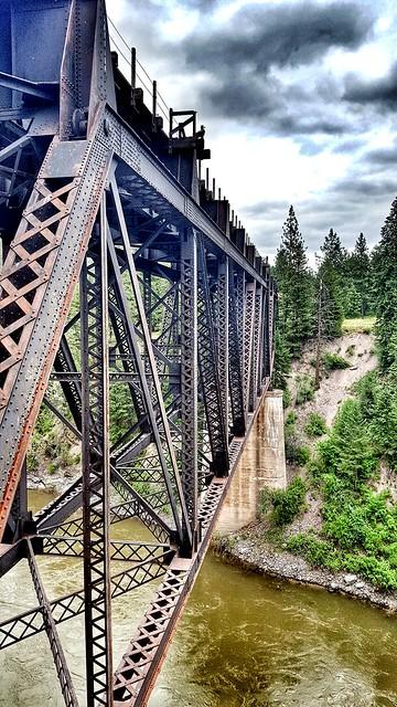 Old railroad bridge over Clark Fork River in Montana off of I-90.