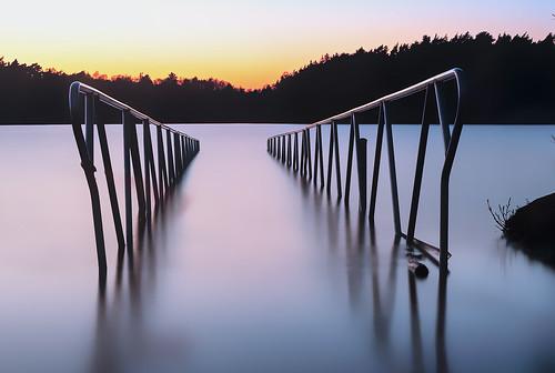 lake longexposure soft nightfall sunset water nature light
