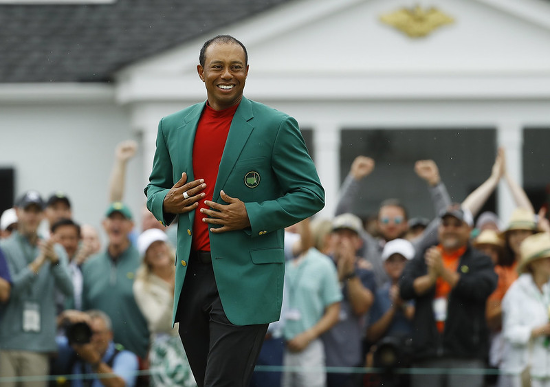 Tiger Woods拿下睽違多年的四大賽與名人賽冠軍。(達志影像)