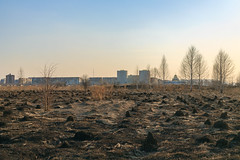 Kemerovo city outskirts in spring