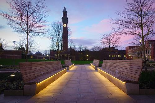greenheart universityofbirmingham oldjoe early morning lights benches sunrise