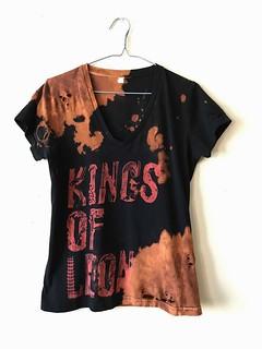 Women's Splatter Bleached and Shredded Kings of Leon Shirt Medium | by shopthegasstation