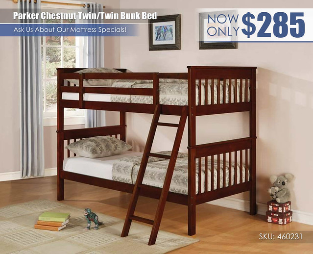 Parker Chestnut Twin over Twin Bunk Bed_460231