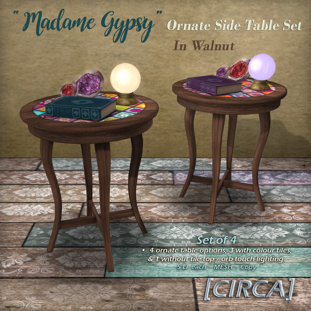 "@ The Boardwalk | [CIRCA] – ""Madame Gypsy"" – Ornate Side Table Set"