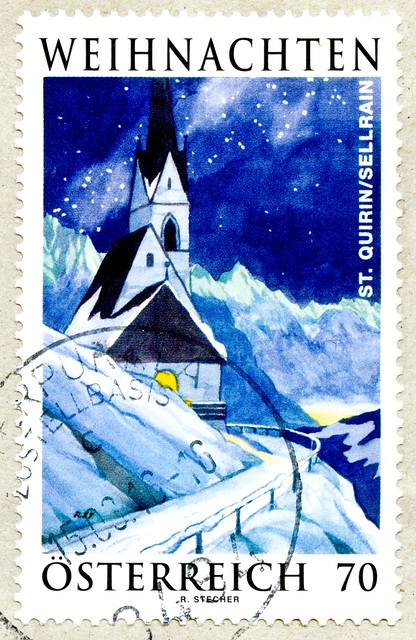 great xmas stamp Austria 70c (Church St.-Quirin / Sankt Krain in Sellrain / Tirol / Tyrol; painting by Reinhold Stecher 1921-2013) christmas postzegel Oostenrijk طوابع النمسا postage timbre noel Autriche selo natal sello navidad francobollo natale Austria