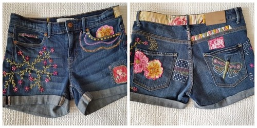 One Of A Kind/Hand Embroidered/Patched/Hippie Boho/ Women's Vintage Denim Shorts Size 9 | by shopthegasstation