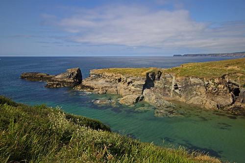 port gaverne cornwall grass sky sea rock ocean water bay landscape seascape coast cliff harbour ipm