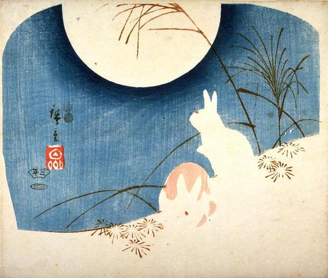 Untitled (Two Rabbits, Pampas Grass, and Full Moon)