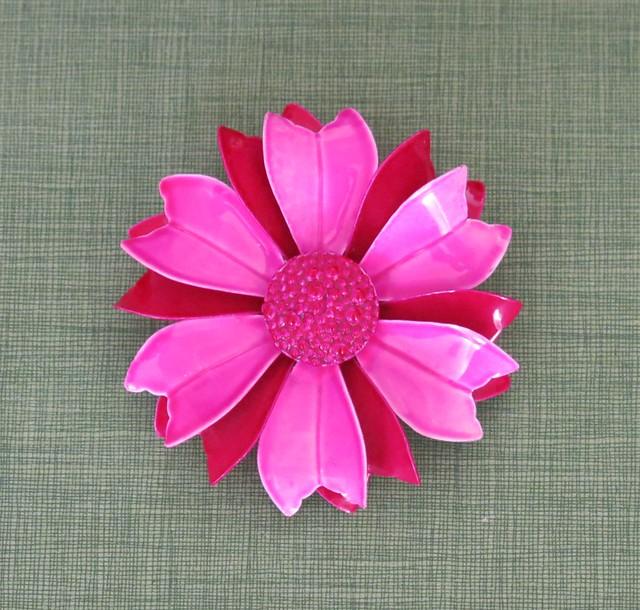 Vintage Pink Enamel Flower Pin