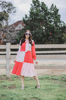 Sister Jane midi dress with pussybow in heart print color block | by AshleyBelle12