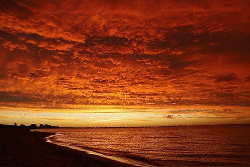 sky beach sunset orange water rockingham ocean sand landscape