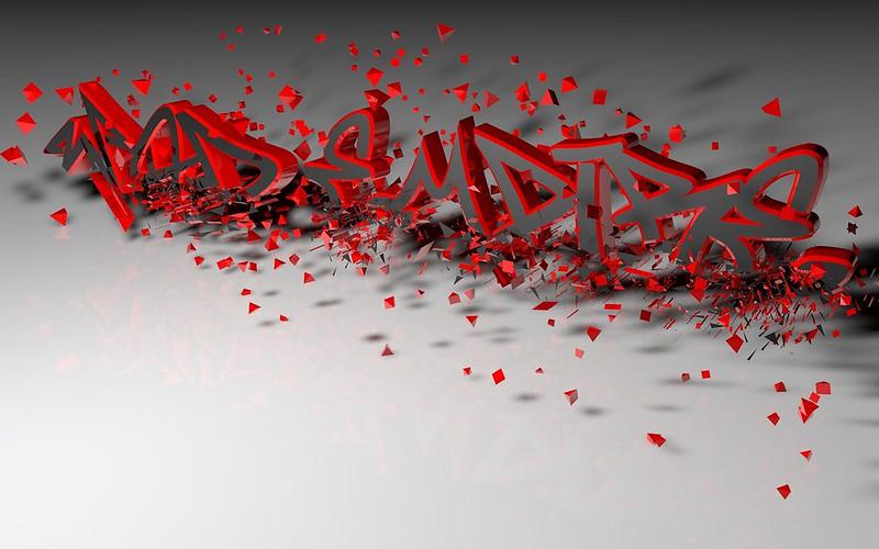Обои буквы, 3d, рассыпающийся, красный картинки на рабочий стол, фото скачать бесплатно