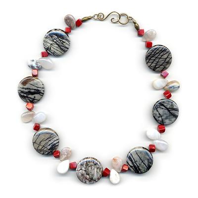 'Sketches' necklace of coral, white agate & spider web jasper