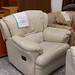 Cream leather arm chair recliner E100