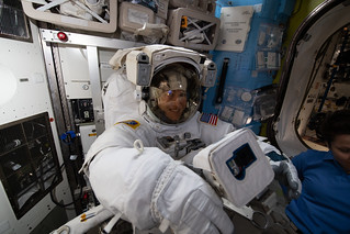NASA astronaut Christina Koch is fitted in a U.S. spacesuit | by NASA Johnson