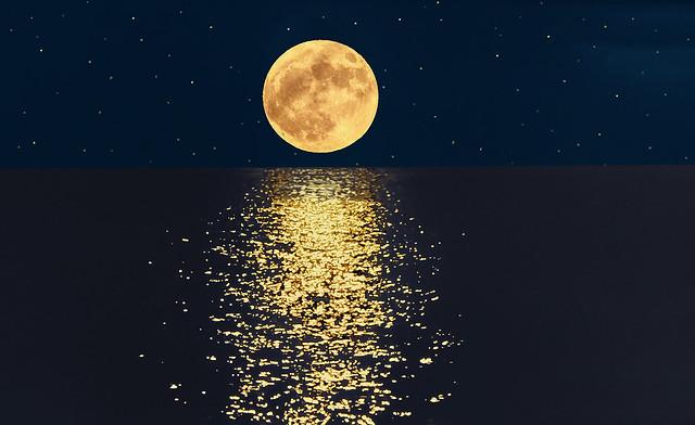 Moonset on the sea