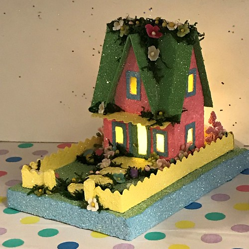 Pink and Green Easter Putz House | by christmasnotebook