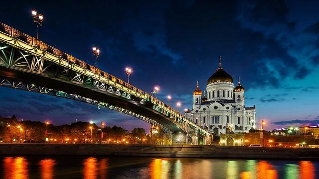 Russia - Moscow - Bridge-Night
