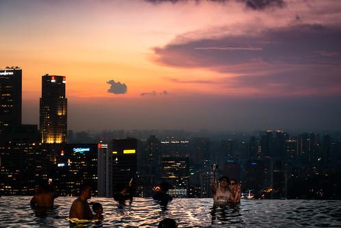 evening abend pool sonnenuntergang sundown wasser water spiegelung reflection