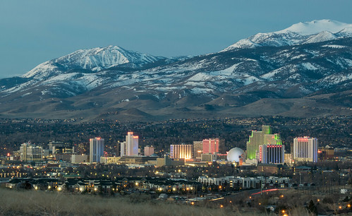 skyline city mountain snow reno nevada renonevada casino twilight sun sunrise landscape cityscape