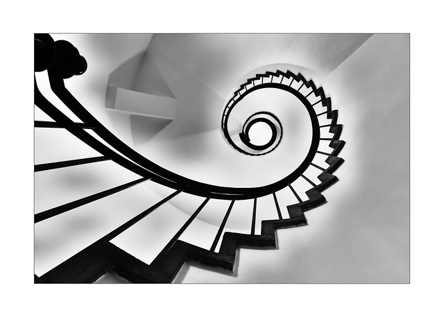 light play in the spiral staircase