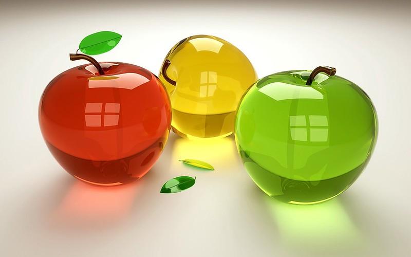 Обои 3d, фрукты, стекло картинки на рабочий стол, фото скачать бесплатно