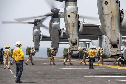 USS Kearsarge (LHD 3) conducts flight operations.