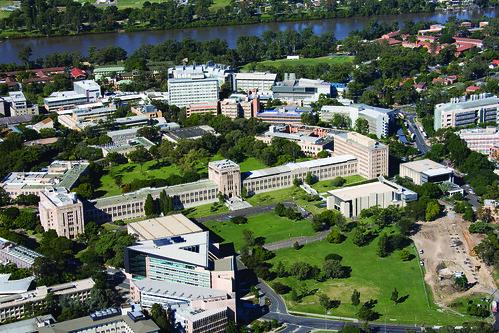 Aerial view of campus including ICTE