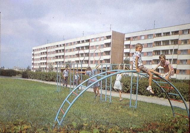 Võrumaa - New housing estate at Vilja street in Võru - playground for children - 1984 - Estonia - USSR -